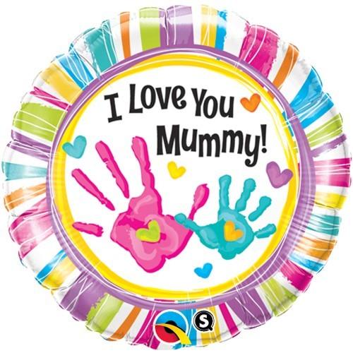 I Love You Mummy Handprints - folija balon
