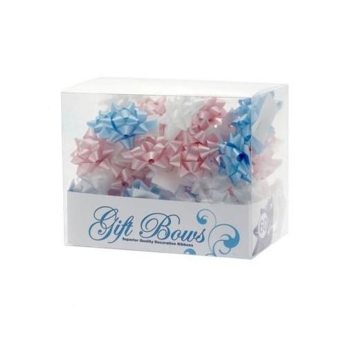 Mini mašne u kutiji - plava, bijela i roza