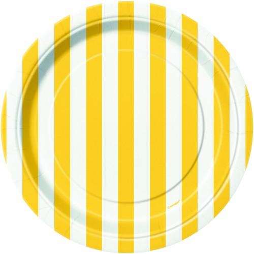 Žuti tanjiri sa crtama 18 cm