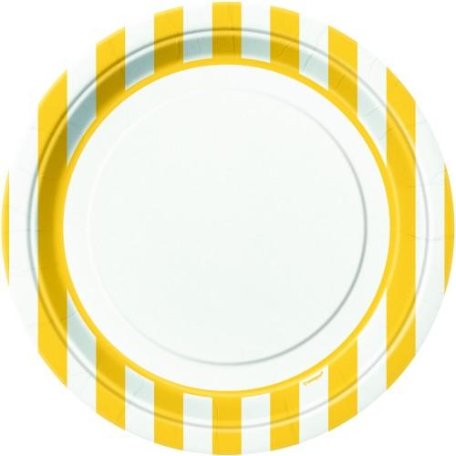 Žuti tanjiri sa crtama 23 cm