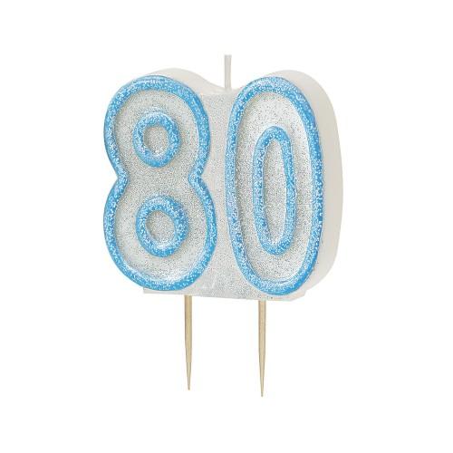 Svijeća sa blistom - plava 80