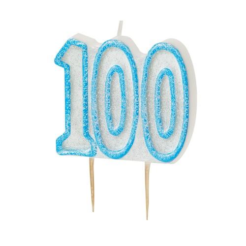 Svijeća sa blistom - plava 100