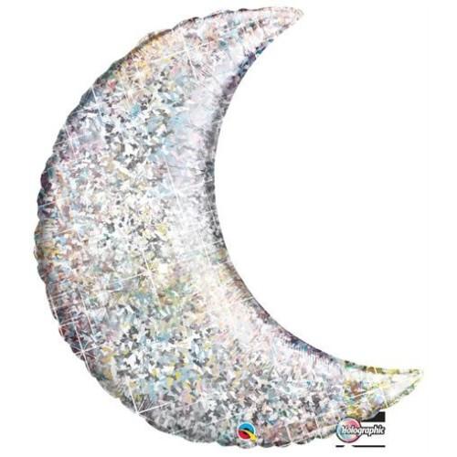 Holographic Silver Crescent Moon - folija balon 89 cm