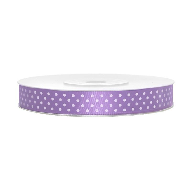 Satin ribbon with dots - lavender