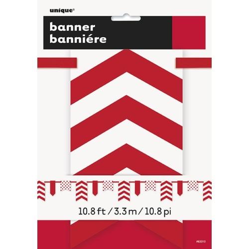 Crveni banner sa točkama i prugama