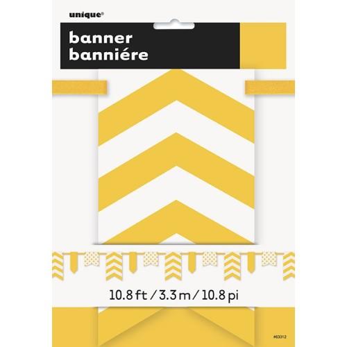 Žuti banner sa točkama i prugama