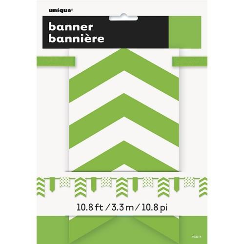 Svijetlo zelen banner sa točkama i prugama