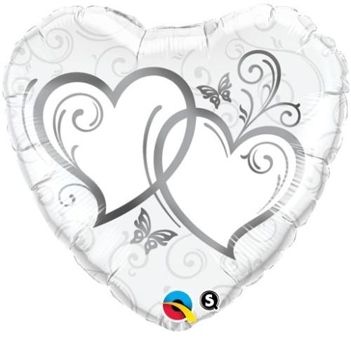 Entwined Hearts Silver - folija balon