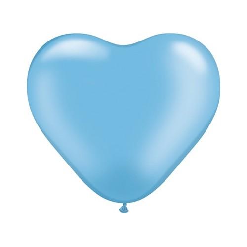 Balon srce 15 cm - pearl azurno modra
