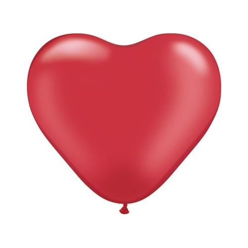 Balon srce 15 cm - pearl rubin crven
