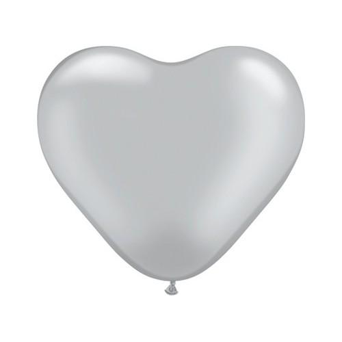 Balon srce 15 cm - srebreni