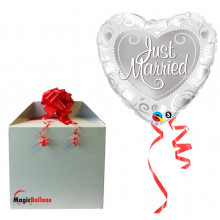 Just Married Hearts Silver - folija balon u paketu