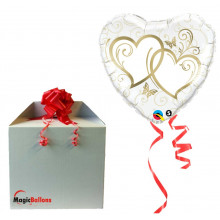 Entwined Hearts Gold - folija balon u paketu