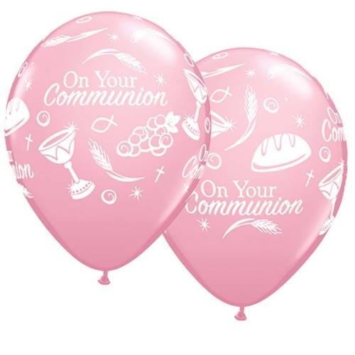 Balon Communion symbols - pink