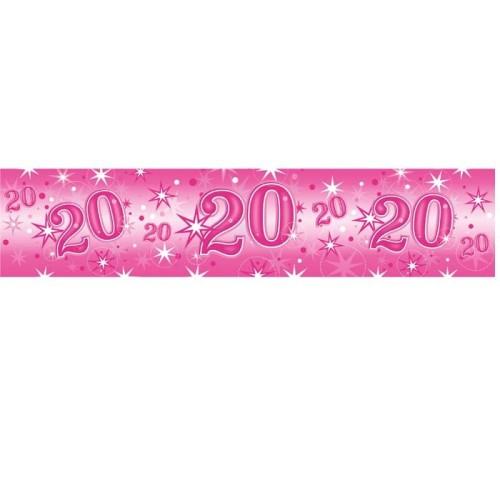 Age 20 pink Sparkle banner