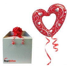 Hearts & Filigree red - folija balon u paketu