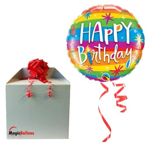 Bday Rainbow Stripes - folija balon u paketu