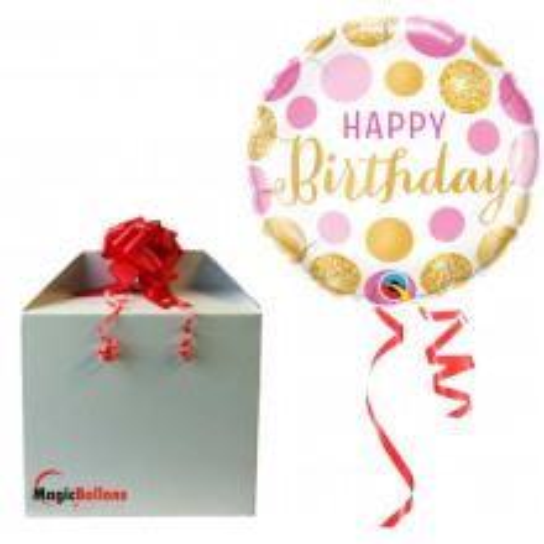 Bday Pink & Gold Dots - folija balon u paketu