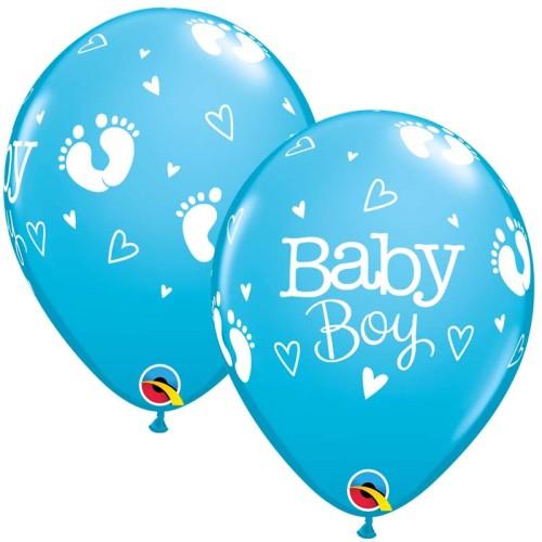 Balon Baby Boy Footprints & Hearts
