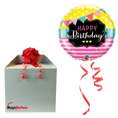 Bday Pennants & Pink Stripes - folija balon u paketu