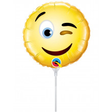 Smiley Wink - foil balloon on a stick