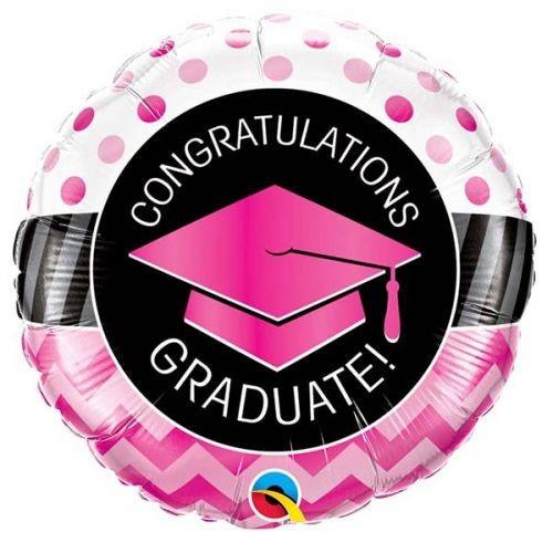 Graduate Pink Chevron Dots - folija balon