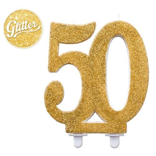 Svijeća 50 blistava zlatna