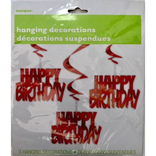 Happy Birthday - crvena viseča dekoracija
