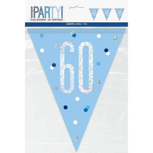 Happy Birthday 60 blue Sparkle zastavice