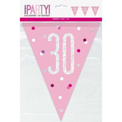 Happy Birthday 30 blue Sparkle zastavice