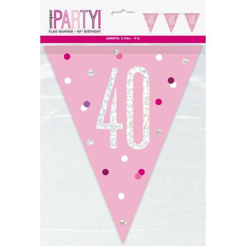 Happy Birthday 40 pink Sparkle zastavice