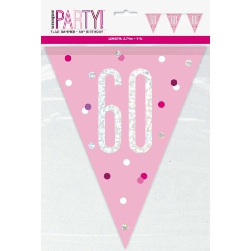 Happy Birthday 60 pink Sparkle zastavice