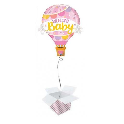 Welcome Baby Pink Balloon napihnjen folija balon