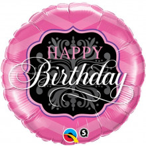 Happy Birthday Pink&Black - foil balloon