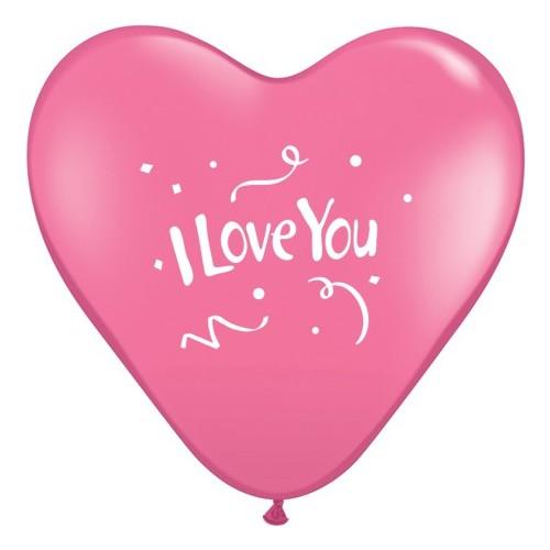 Balon I love You Confetti - roza srca 38 cm