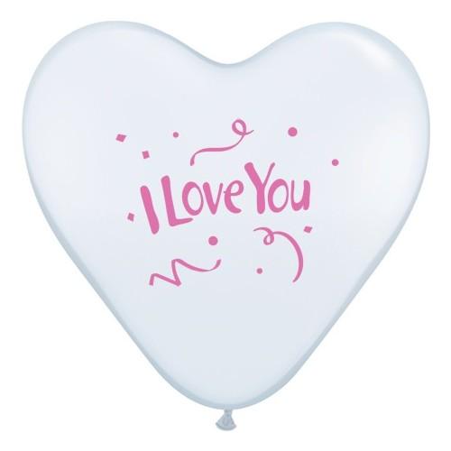 Balon I love You Confetti - bijela srca 38 cm