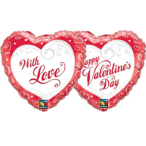 Valentine's Swirl Hearts - folija balon