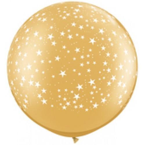 Zlat veliki tiskani balon - zvezdice