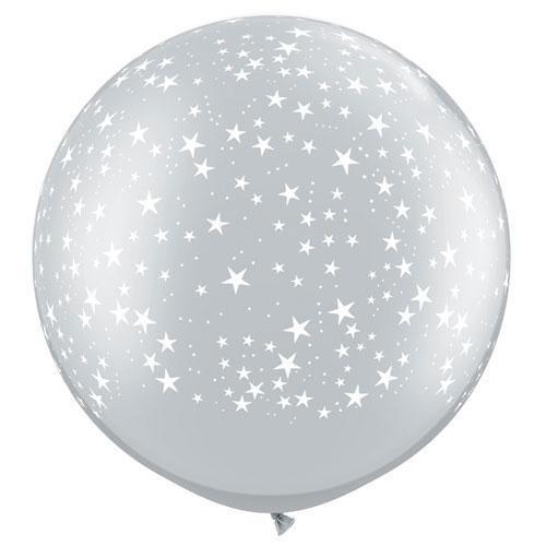 Srebrni veliki tiskani balon - zvezdice