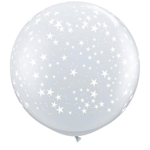 Prozoren veliki tiskani balon - zvezdice