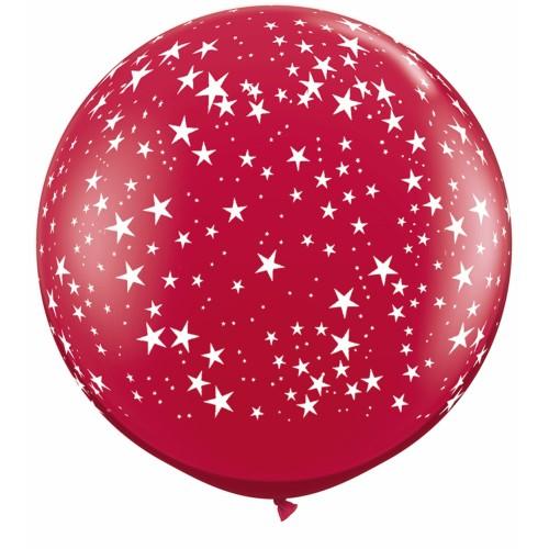 Rdeč veliki tiskani balon - zvezdice