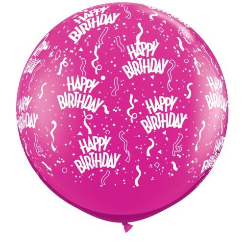 Fuksija veliki tiskani balon - Birthday