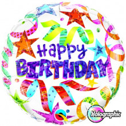 Birthday Stars & Streamers White - folija balon