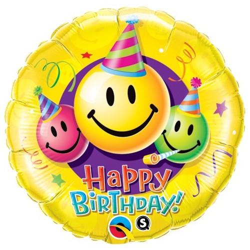 Birthday Smiley Faces - folija balon 45 cm