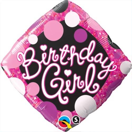 Birthday Girl Pink & Black - folija balon