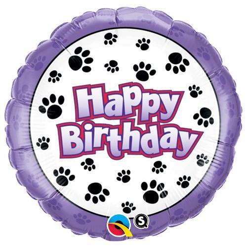 Birthday Paw Prints - folija balon